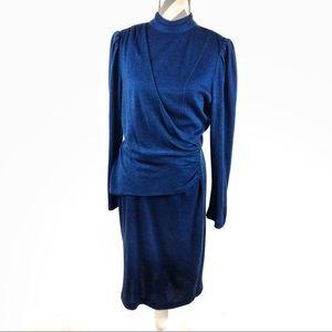 Vintage | Blue sweater dress 70's 80's fashion